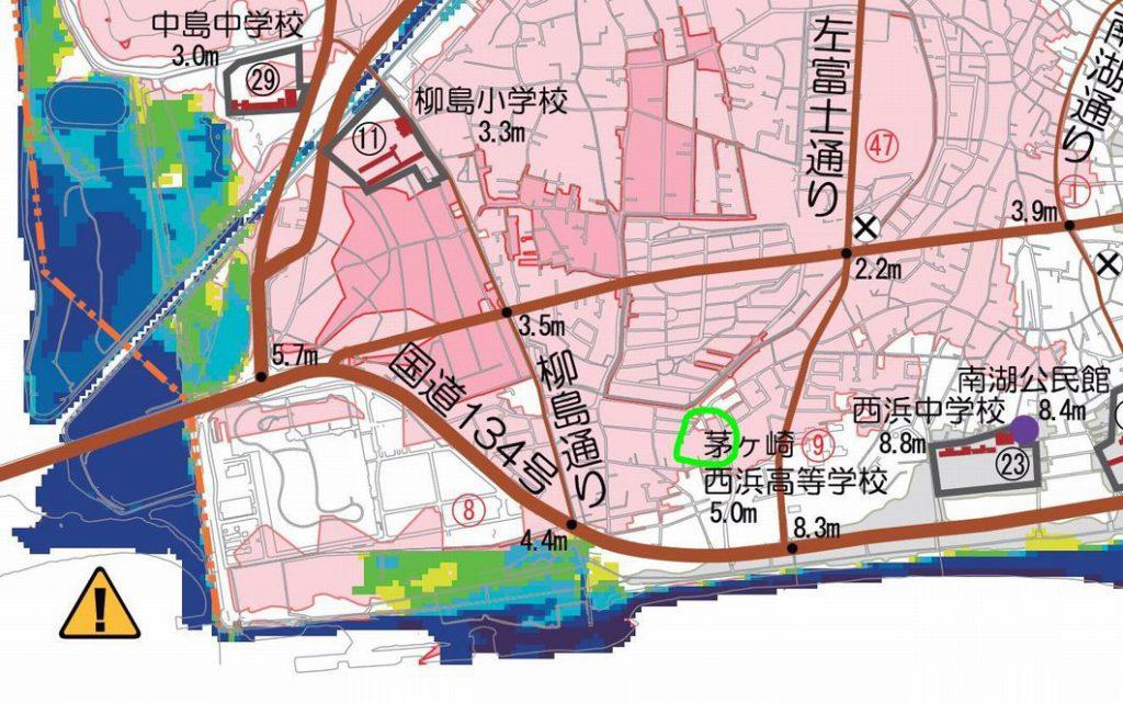 茅ヶ崎市津波ハザードマップ