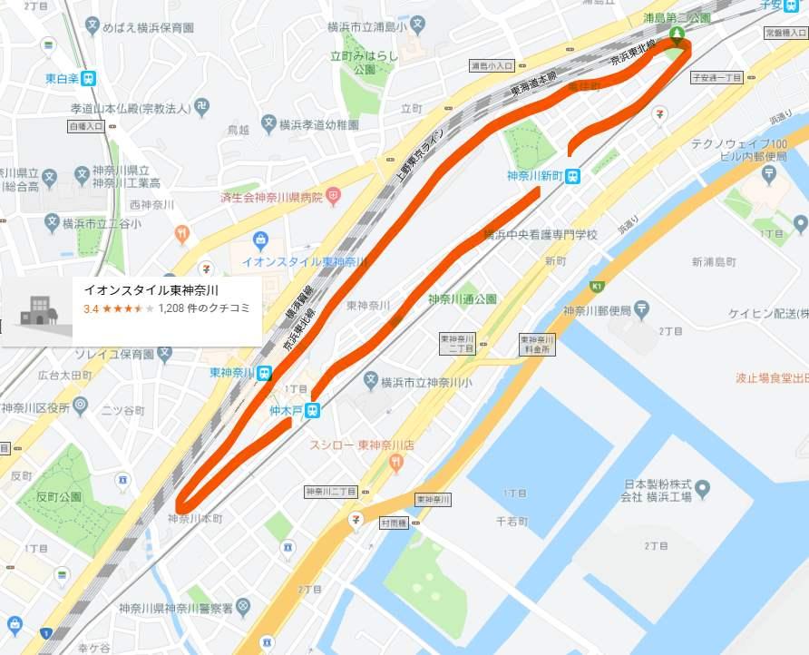 神奈川新町駅付近の地図